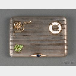 Russian Silver, Gold Mounted and Enamel Accented Naval Presentation Cigarette Case
