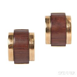 18kt Gold and Wood Earclips