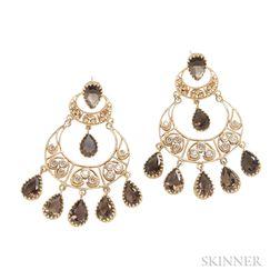 Gold Gem-set Earrings