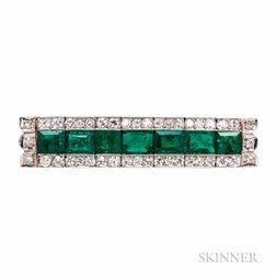 Emerald and Diamond Bar Pin