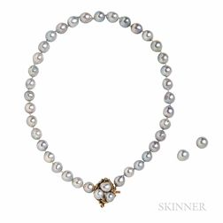Semi-Baroque Silver Cultured Pearl Necklace