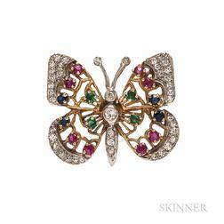 14kt Gold Gem-set Butterfly Brooch