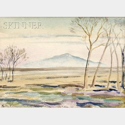 Peter Hurd (American, 1904-1984)      View with Mountain in the Distance.