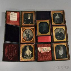 Seven Sixth-plate Daguerreotype Portraits of Elderly Ladies