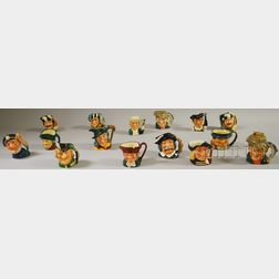 Fourteen Assorted Royal Doulton Ceramic Character Jugs and a Lighter