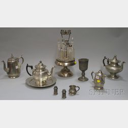 Nine Pewter Table Items and a Silver Plate and Cut Glass Caster Set