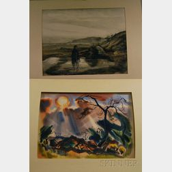 Mitchell Jamieson (American, 1915-1976)      Two Unframed Works on Paper.   Oregon Beach