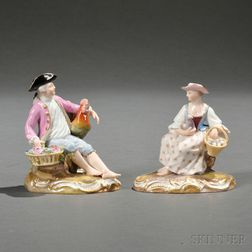 Pair of Meissen Porcelain Figures of Children with Fowl