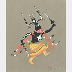 Allan Houser (American, 1914-1994)    Two Works: Apache Gaan Dancer Facing Right