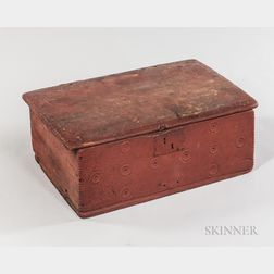 Red-painted Oak and Pine Table Box