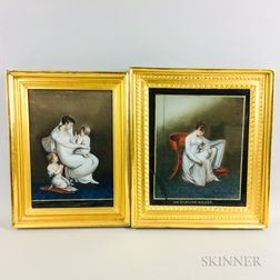 Two Framed Chinese Export Reverse-painted Glass Figural Scenes