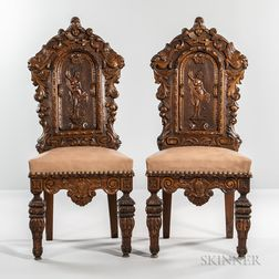 Pair of Renaissance Revival Carved Walnut Side Chairs