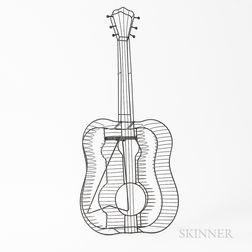 Frederick Weinberg Wire Sculpture of a Guitar