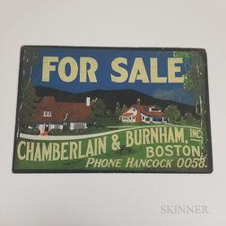 """Chamberlain & Burnham """"For Sale"""" Real Estate Sign"""