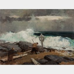 Harry Russell Ballinger (American, 1892-1993)      Scavenging Along a Stormy Coast