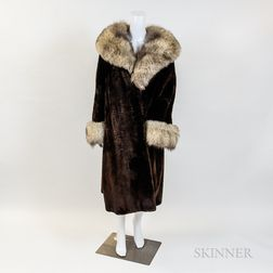 Georgeou Beaver Fur Mid-length Coat with White Fox Fur Collar and Cuffs