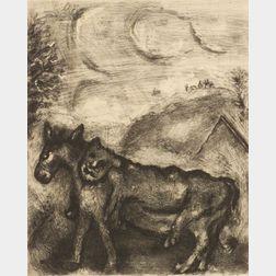 Marc Chagall (Russian/French, 1887-1985)    L'Ane Vetu de la Peau du Lion