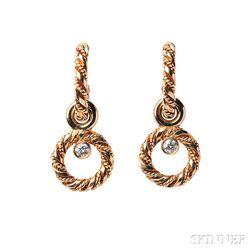 18kt Gold and Diamond Earrings, Georg Jensen
