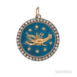 Enamel and Diamond Cancer Zodiac Pendant