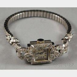 Lady's Platinum and Diamond Glycine Art Deco-style Wristwatch