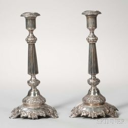Pair of Polish Silver-plated Candlesticks