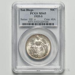 1935-S San Diego Commemorative Half Dollar, PCGS MS65.     Estimate $60-80