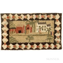 Yarn Sewn Mat with House and Barn