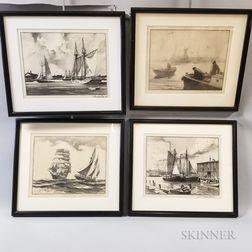 Four Framed Gordon Hope Grant Lithographs of Ships