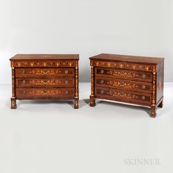 Pair of Italian Empire-style Mahogany-veneered Marquetry Commodes
