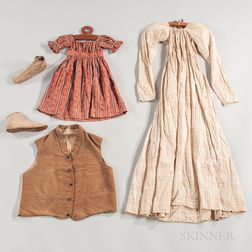 Three 19th Century Garments and a Pair of Slippers