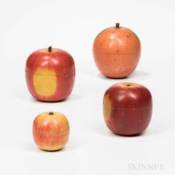 Four Turned and Painted Apple- and Orange-form Boxes