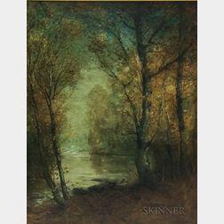 Franklin (Frank) Benjamin DeHaven (American, 1856-1934)      Autumn Landscape with Pond