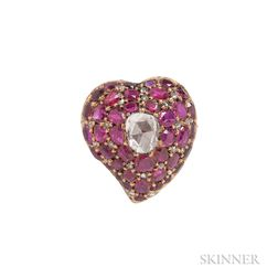 """Antique Gold, Ruby, and Rose-cut Diamond """"Witch's Heart"""" Brooch"""