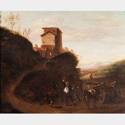 Dutch School, 17th Century    Three Peasant Men Dancing Near an Ox-drawn Haycart on a Winding Road