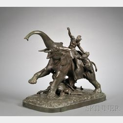Henry van Wolf (German/American, 1898-1982)       Large Bronze Figure of an Elephant and Riders Being Attacked by Lions
