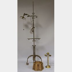 Wrought Iron and Copper Standing Bridge Lamp with Mica Shade and a Brass Table Lamp.