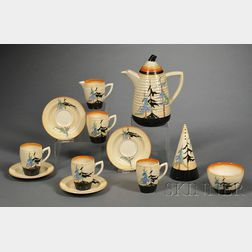 Twelve Clarice Cliff Bizarre Ware Pine Groves Pattern Tea Ware Items
