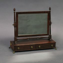 Regency Mahogany Two-drawer Shaving Mirror