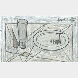 Bernard Buffet (French, 1928-1999)      Nature morte à l'assiette et verre