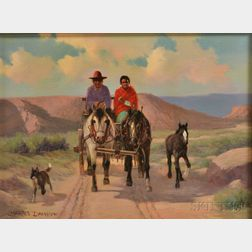 Charles Damrow (American, 1916-1989)      Two Figures in a Horse-drawn Wagon, with a Colt and Dog Alongside