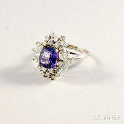 14kt White Gold, Diamond, and Tanzanite Ring