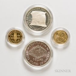 1987 U.S. Constitution Commemorative Gold and Silver Four-coin Set.