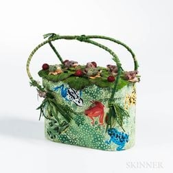 Aleja Bee Mixed Media Hand-painted Frog Pond Handbag
