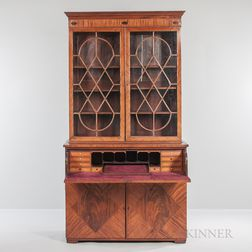 Georgian Mahogany and Mahogany-veneered Secretary Bookcase