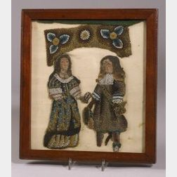 Framed William and Mary Beaded Stumpwork Figures