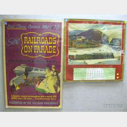 Mid-20th Century Chromolithograph Railroad Calendar and Poster