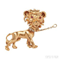18kt Gold Lion Brooch, Buccellati