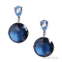 18kt White Gold, Blue Topaz, and Diamond Earrings