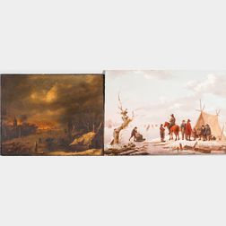 Dutch School, 17th Century Style      Two Winter Landscapes with Figures on the Ice: Daylight
