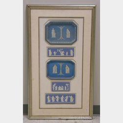 Framed Group of Wedgwood Light Blue Jasper Plaques